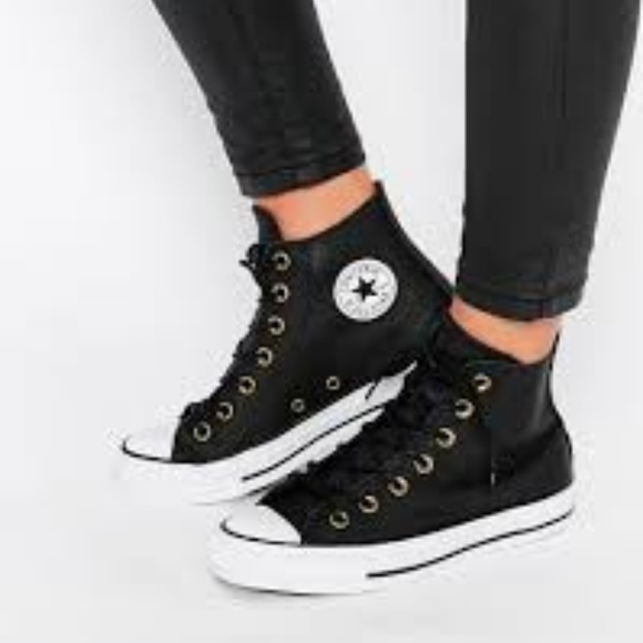 6514639bfa44 Converse Shoes - Converse Black Leather Chuck Taylor High Tops